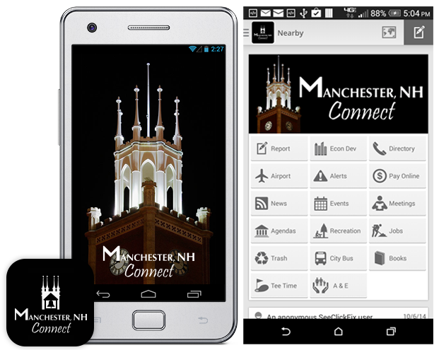 New Manchester NH Connect mobile app is live.