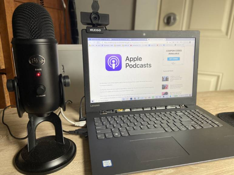 Here is my current setup: BLUE YETI Microphone, Lenovo laptop and a NEXIGO 1080p camera.